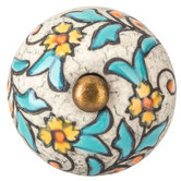 Glazed Floral Crackle Knob
